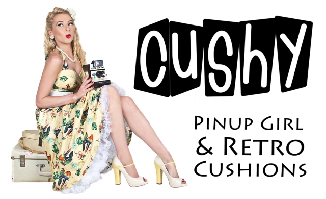 Business Card Design for Cushy Pinup Girl and Retro Cushions