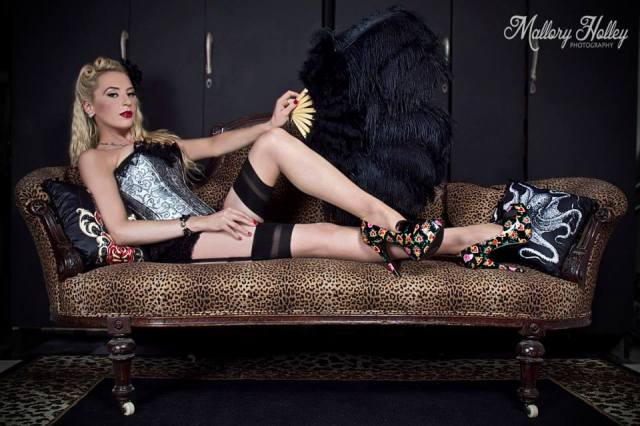victorian leopard lounge pinup burlesque photography Mallory Holley