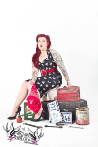 Car memorabilia and oil can Pinup Photo shoot