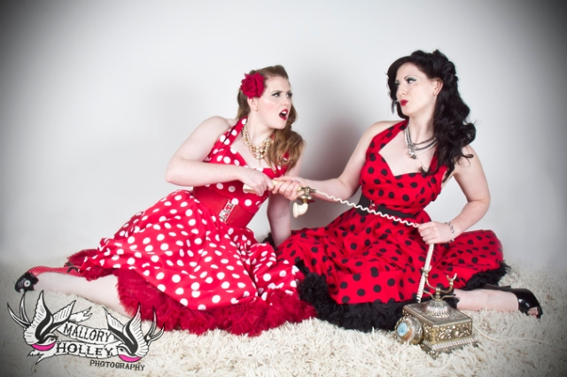 vintage telephone pinup girls photo shoot
