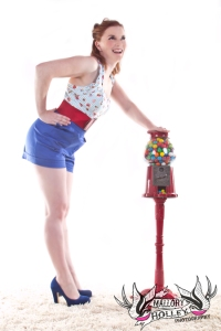 Vintage antique gumball machine pinup photo shoot