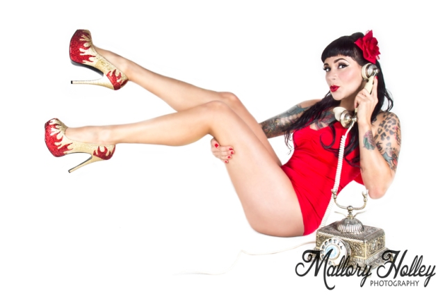 flame pin up shoes vintage telephone