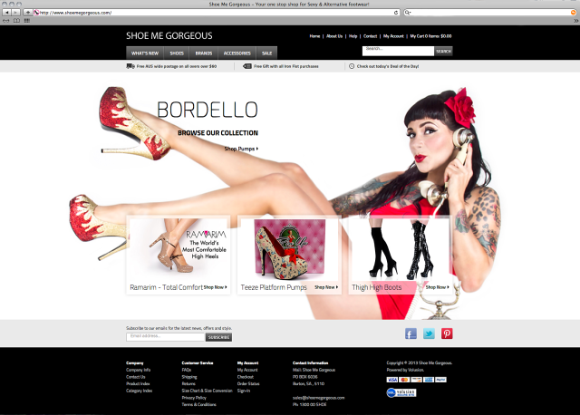Bordello promotional photograph for the Shoe Me Gorgeous website.