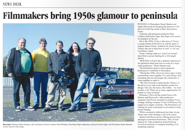 The Producers of Penny the film at Dromana 3 Drive-In
