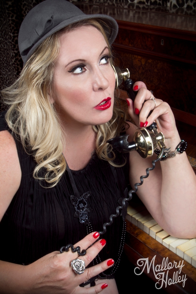 Mallory Holley Photography 1920s flapper inspired vintage telephone victorian piano pinup photo