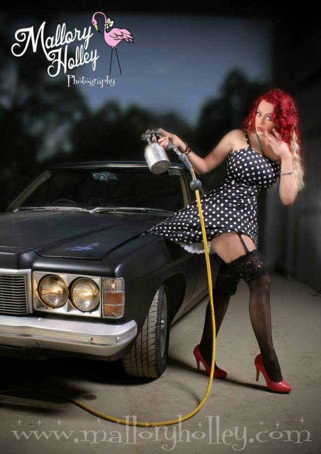 Mallory Holley 'Paint it Black' HZ ute, pinup spraygun