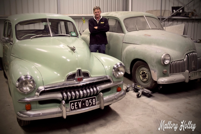 Back in the workshop with Dad standing next to my F.J. and his F.X (48-215) Holden.