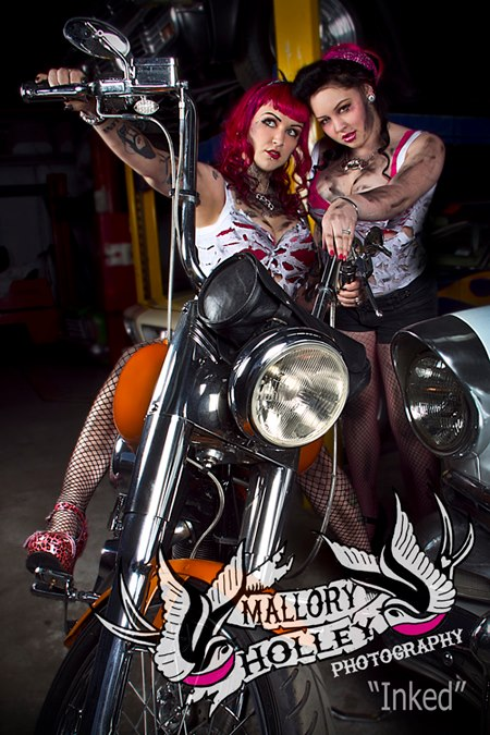 1974 Harley Davidson Wide Glide (Pictured with models Skye Medusa & Cherry Martini -Makeup by Ollie Savage)