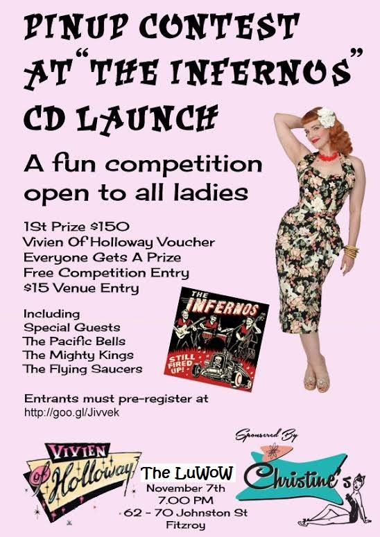 Pin-up Competition at The Infernos CD Launch Flyer