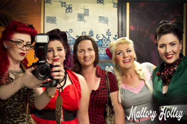 My very first (and rather unsuccessful) attempt of a bathroom selfie with an SLR.  From left to right that's yours truly, Jessi-Marie, Sarah, Loretta Lowbrow & Gemma.