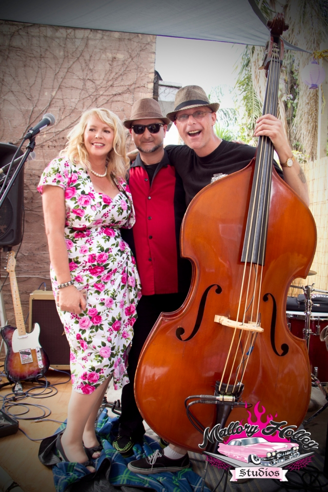The fabulous Christine with The Infernos drummer Dave Rogers and slap bassist/lead singer Don Wycherley.
