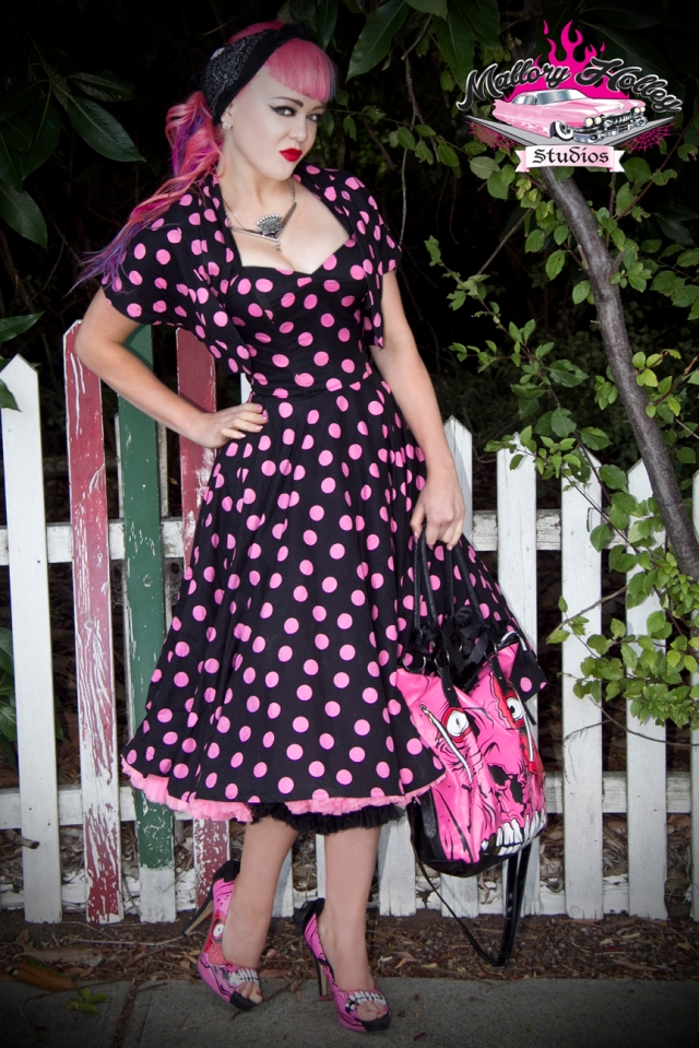 My pink polkadot 1950s reproduction dress from Christine's, teamed with the matching bolero.