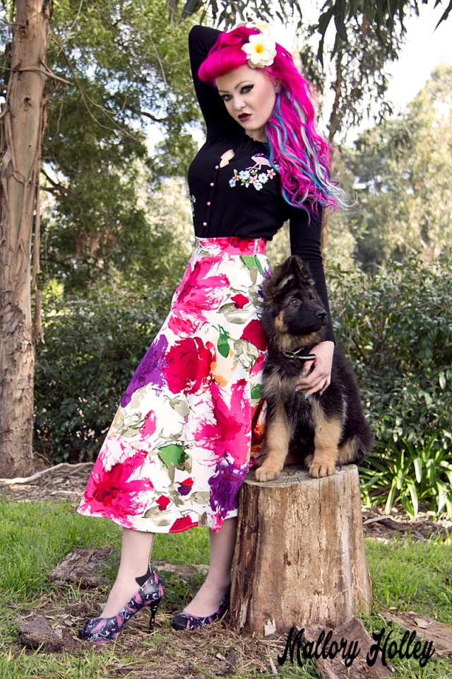 Printed pinup skirt by Dress Me Gorgeous and German Shepherd Puppy_0468