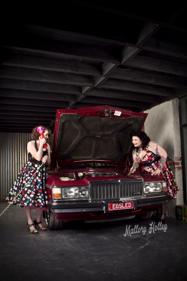 Mother and daughter pinup shoot with Holden WB Statesman