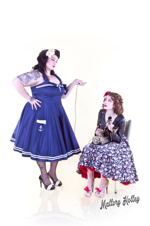 Mother and daughter pinup shoot