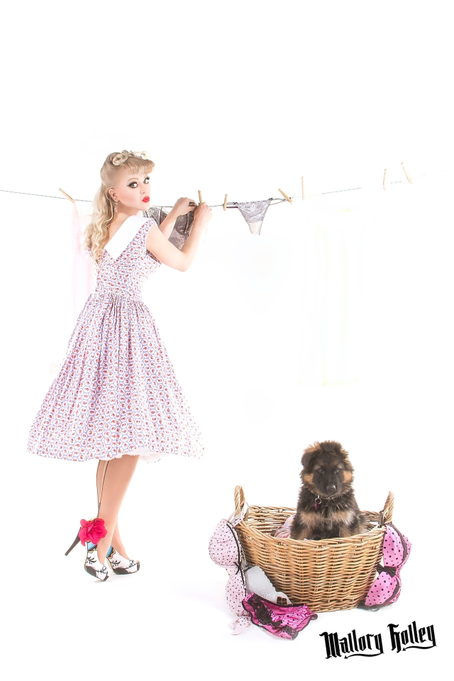 Pinup & GSD Puppy Washing Line Photo Shoot