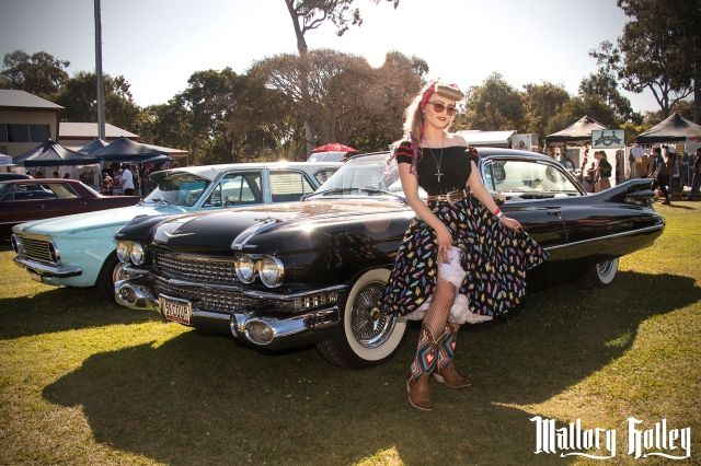 30 Mallory Holley and 1959 Cadillac Coupe at GreazeFest