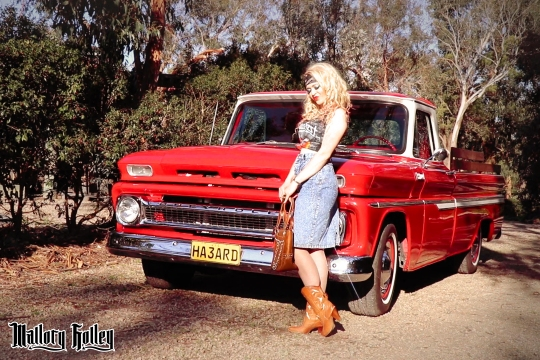 Mallory Holley vintage thrifted outfit and 1965 C10 Chevy Pickup